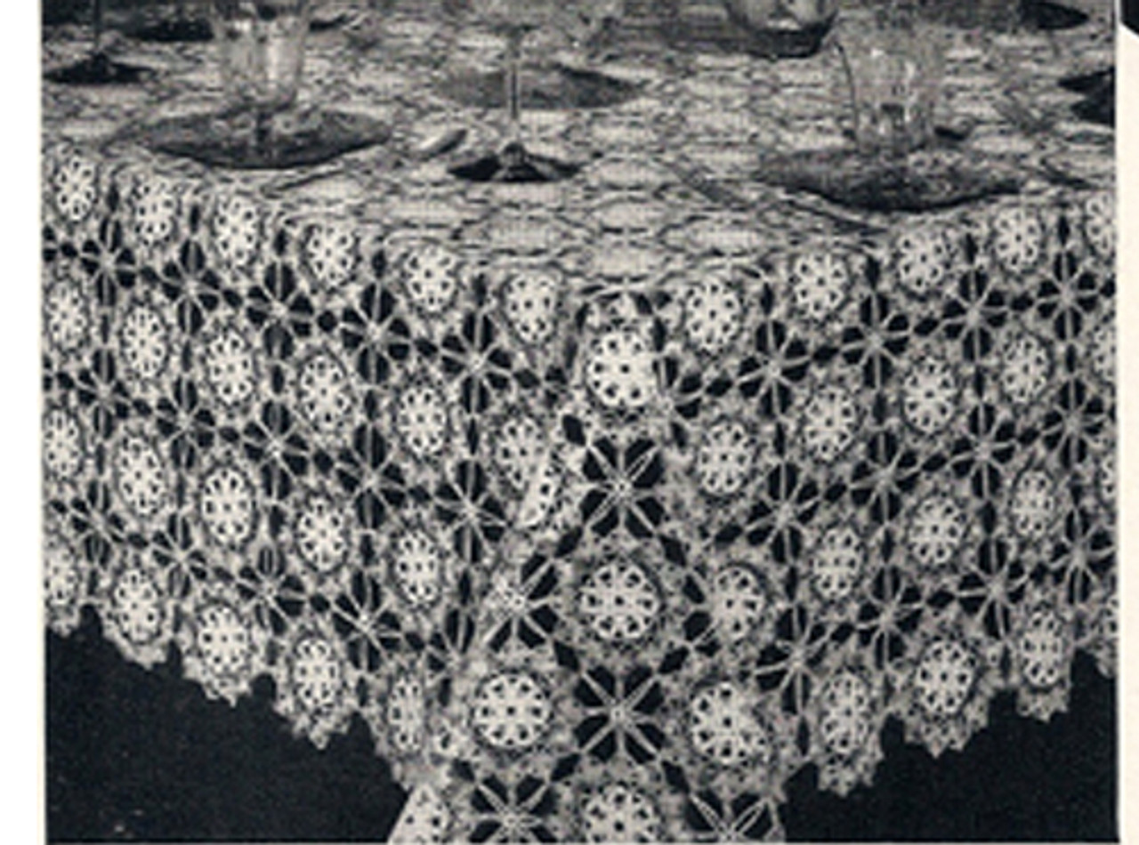 Flower Fable Crochet Medallions Pattern for Tablecloth
