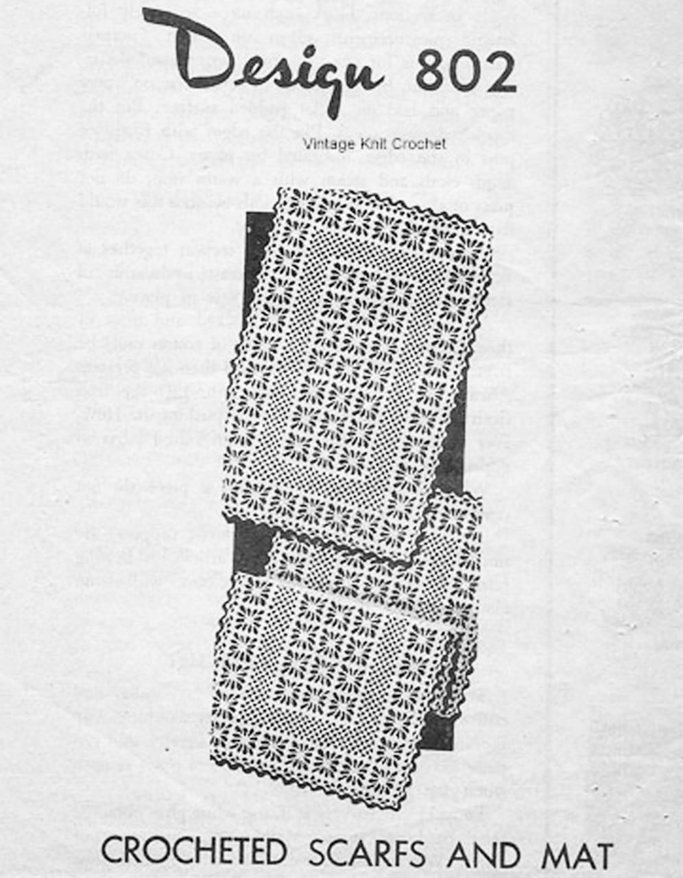 Crochet Spiderweb Scarf Pattern, Mail Order Design 802