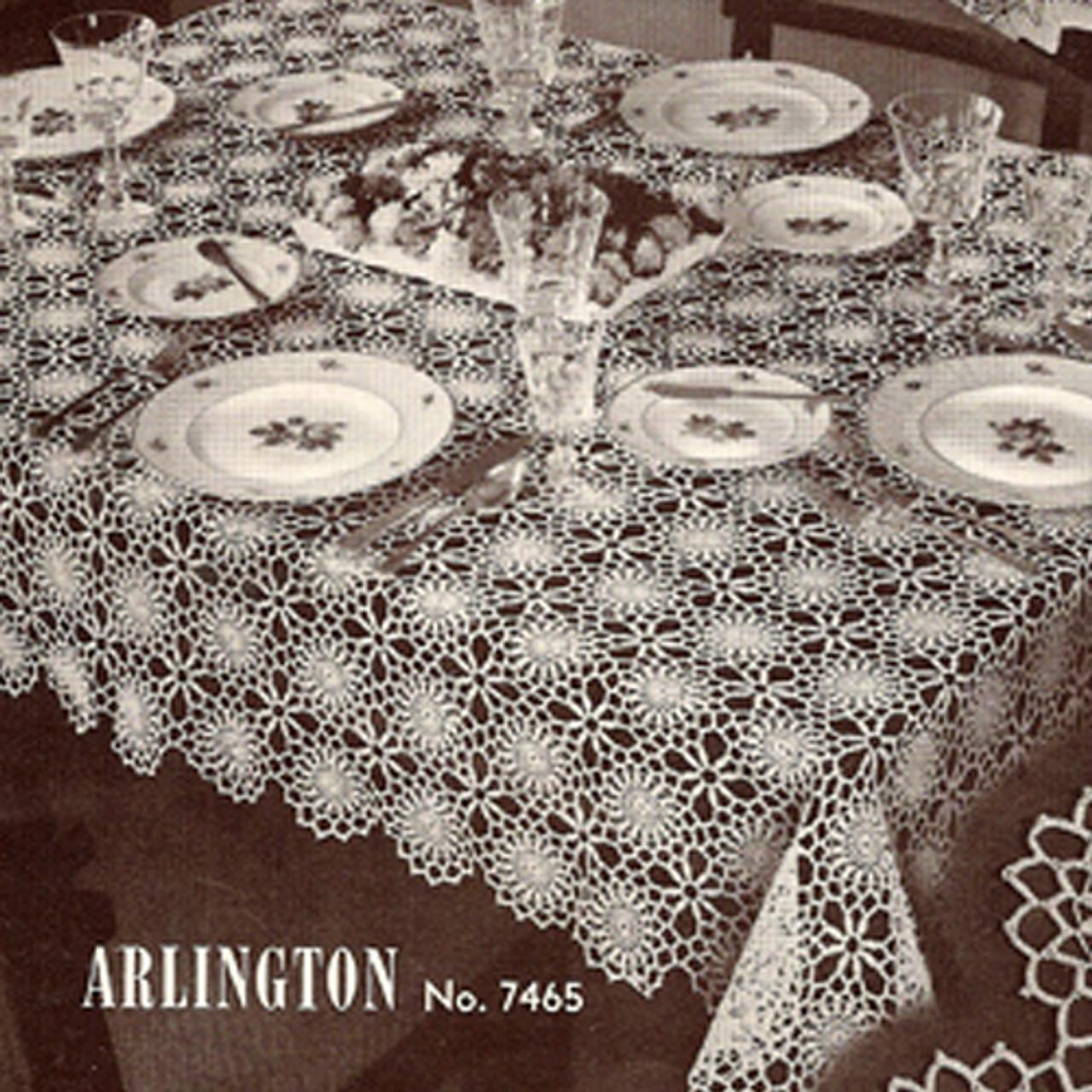 Crocheted Arlington Tablecloth pattern, Vintage 1950s