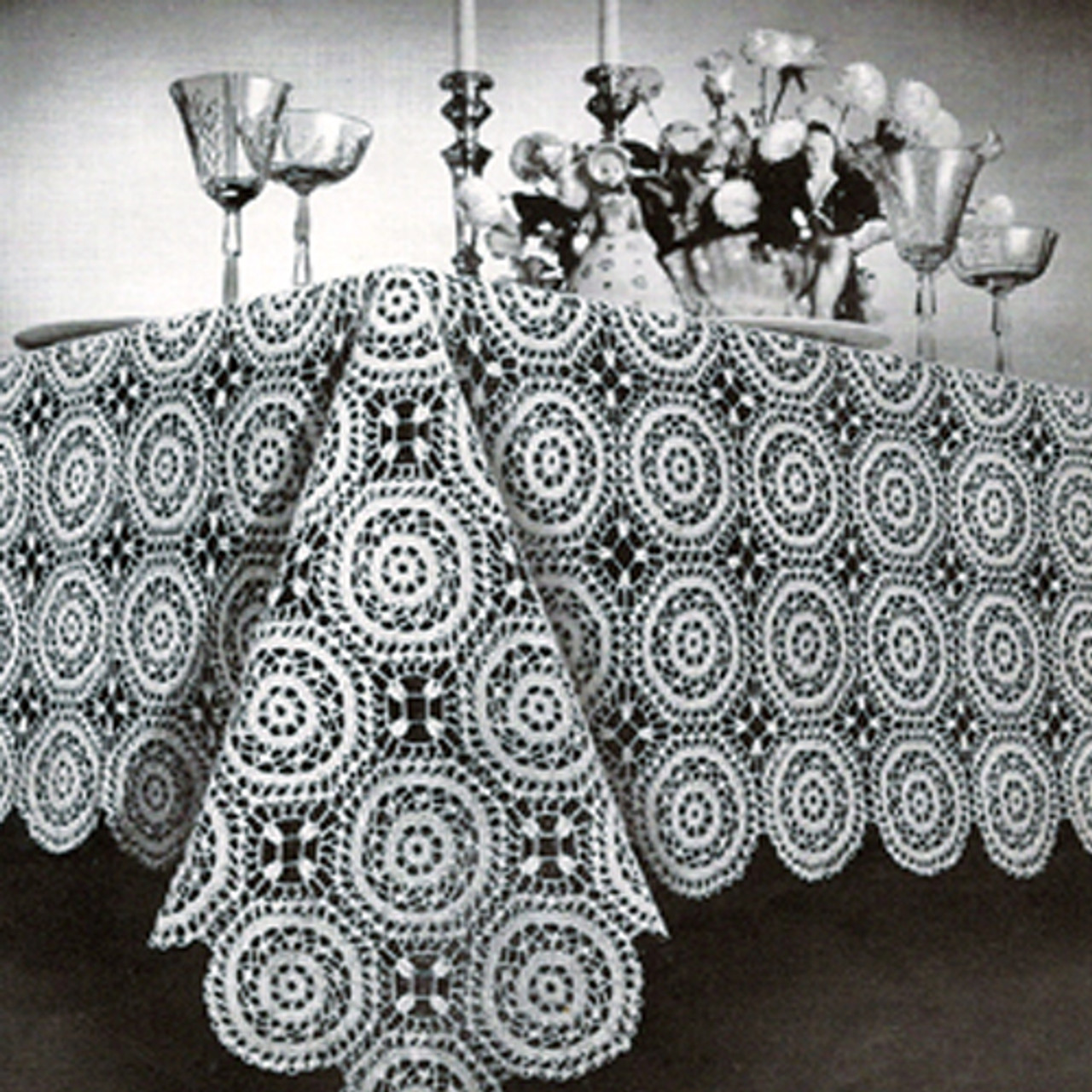 Vintage Crochet Tablecloth, Monterey