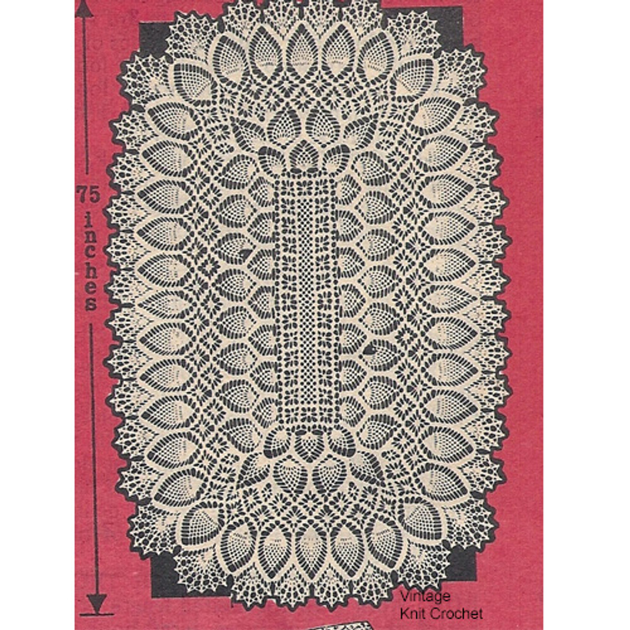 Alice Brooks Crochet Pineapple Runner Pattern Design 7064