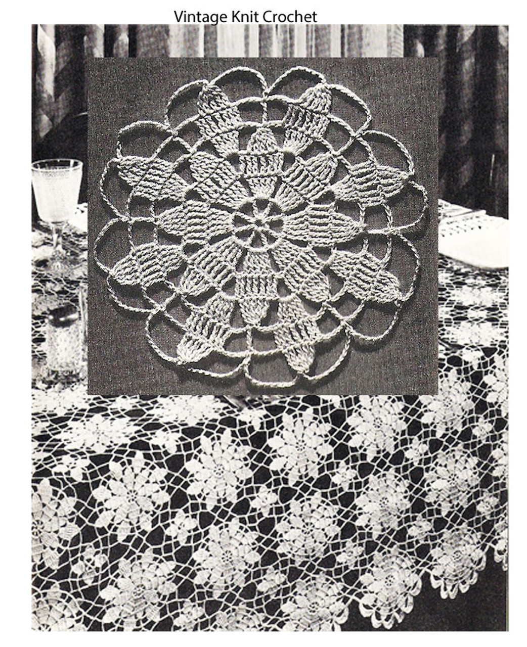 Vintage Crochet Tablecloth Pattern, Queen Anne Lace