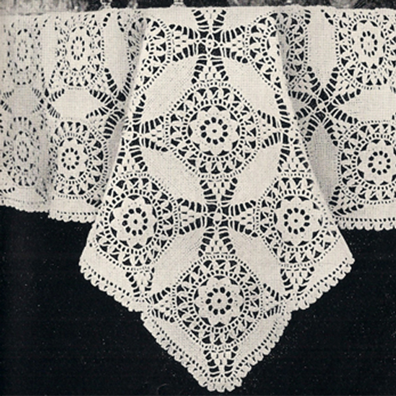 Cathedral Window Crochet Tablecloth Pattern