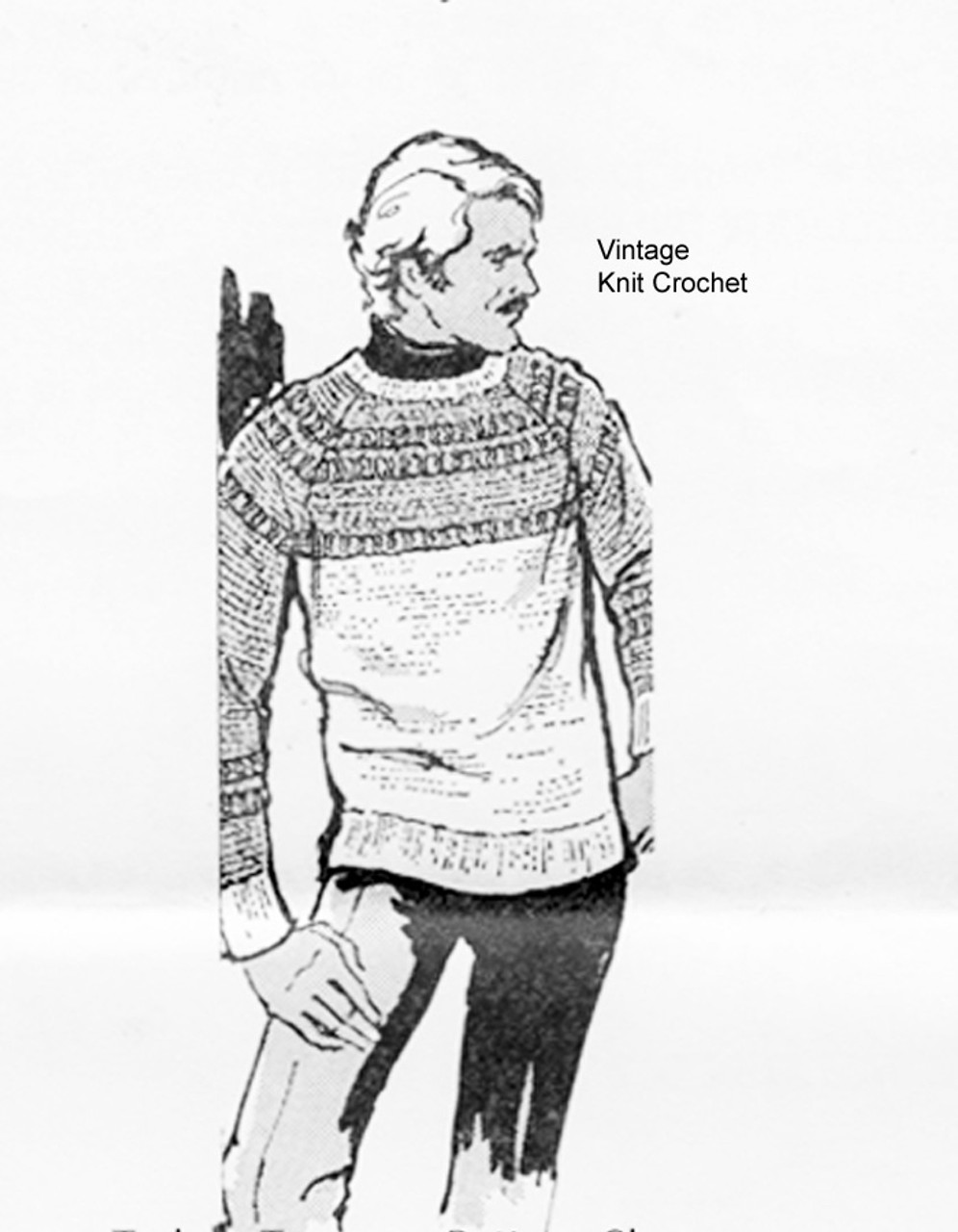 Mens Crocheted Pullover Pattern, Mail Order Design 7049
