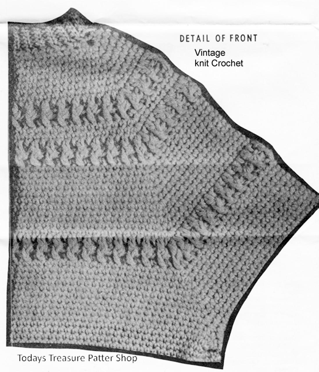 Mans Crochet Pullover Pattern Stitch Detail, Alice Brooks 7049