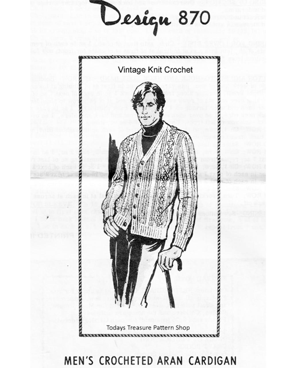 Mans Crochet Aran Cardigan Pattern, Mail Order Design 870