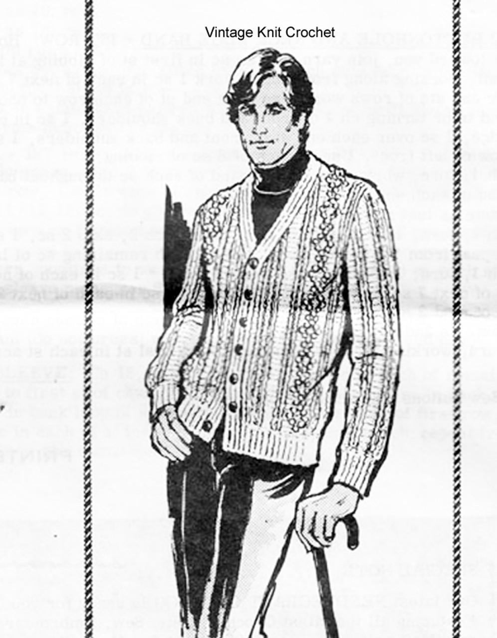 Mail Order Mans Crochet Cardigan Pattern, Aran Style, Laura Wheeler 870