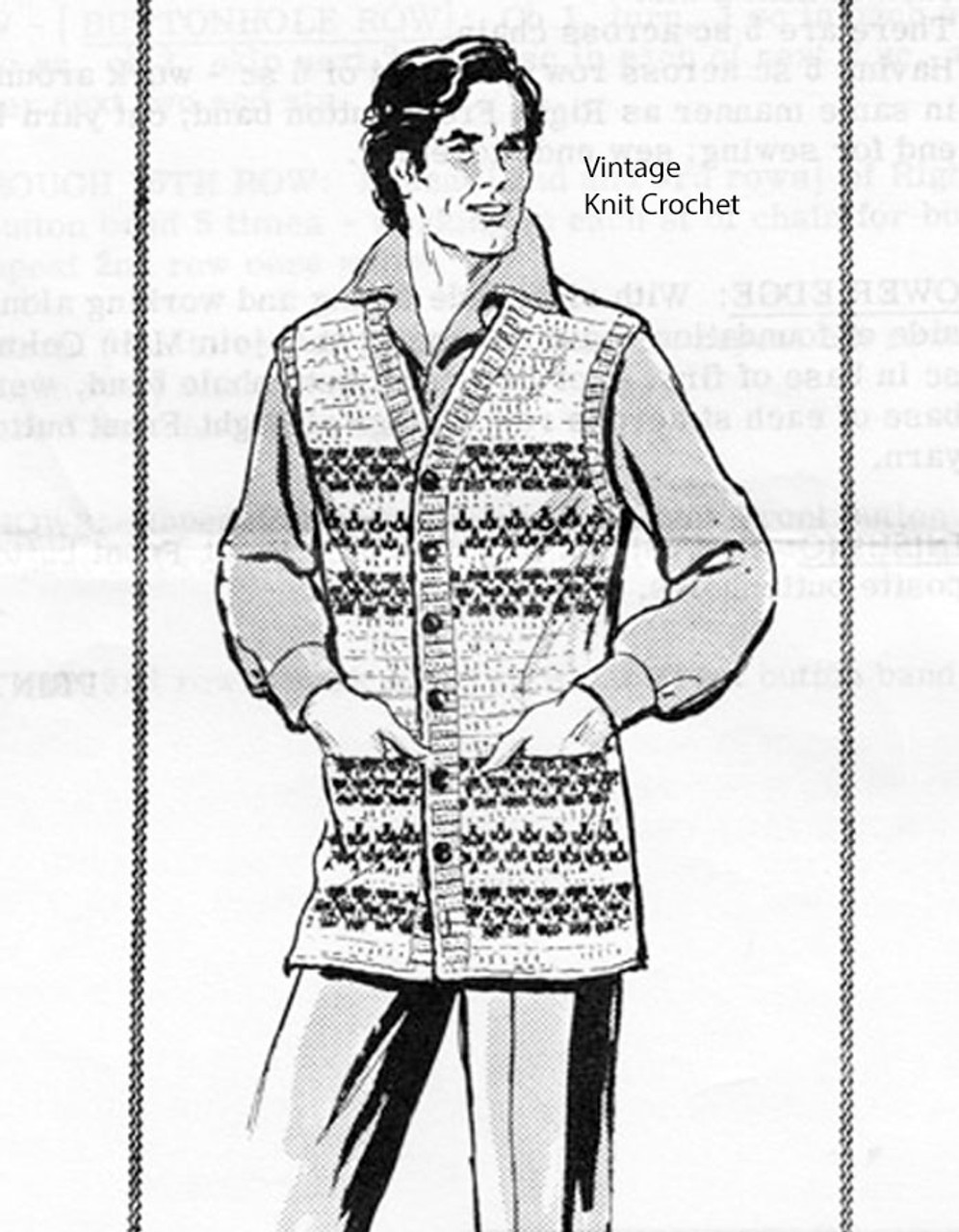 Crochet Mans Striped Vest Pattern, Laura Wheeler 948