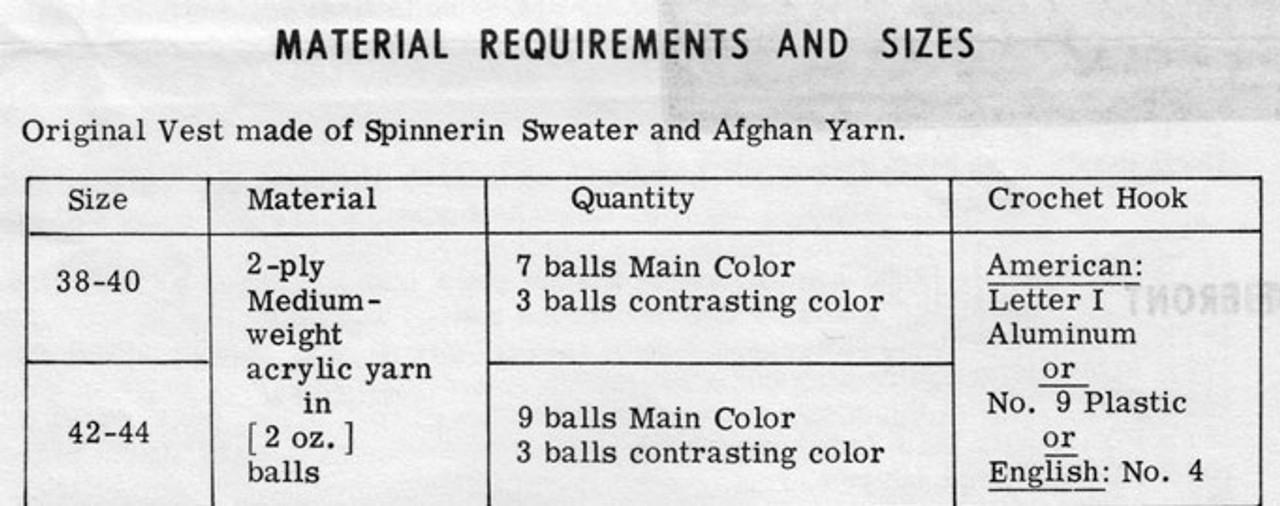 Crochet requirements for mans crochet vest pattern