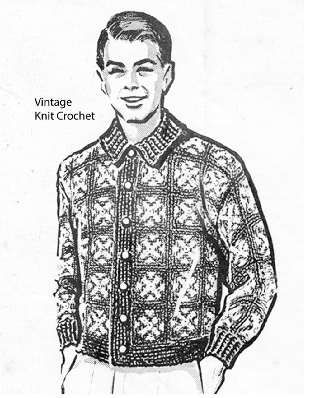 Afghan Blocks Crocheted Mans Cardigan Pattern No 5103