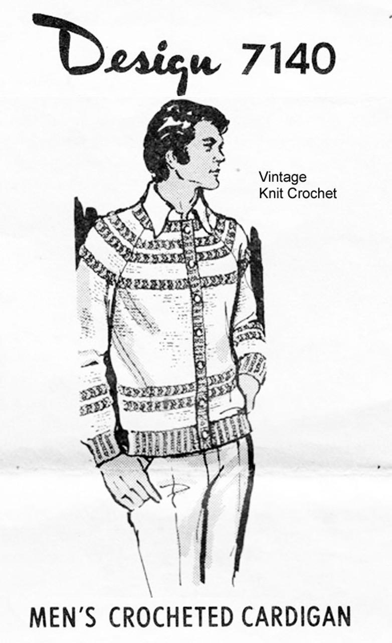 Mans Raglan Crochet Cardigan Pattern Design 7140