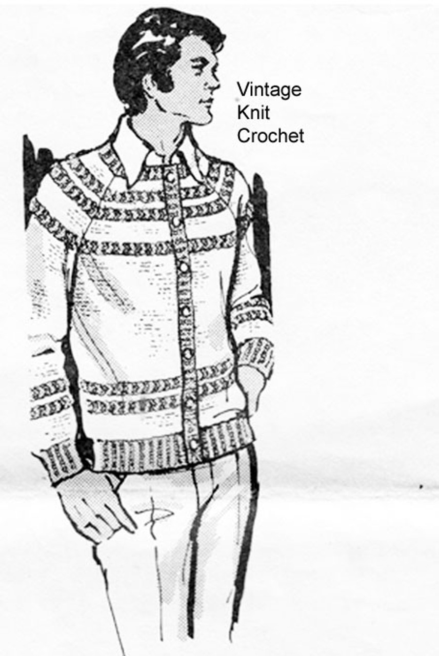 Mens Crochet Striped Cardigan jacket Pattern, Mail Order 7140