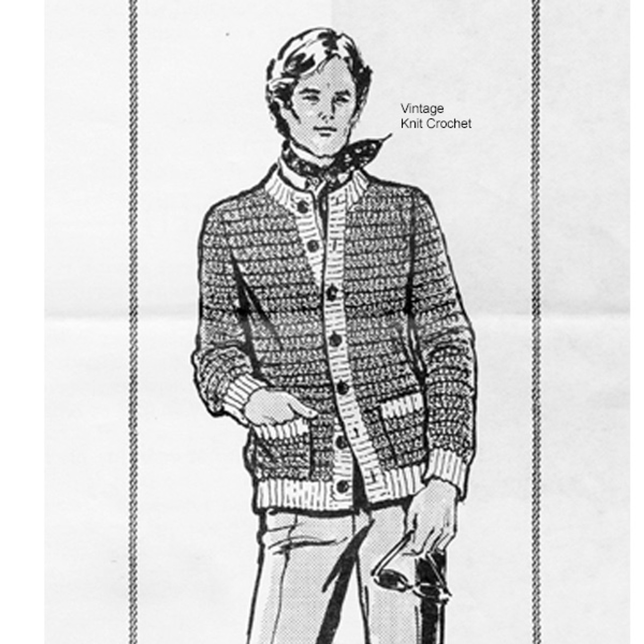 Crocheted Mans Cardigan Pattern, Design 808