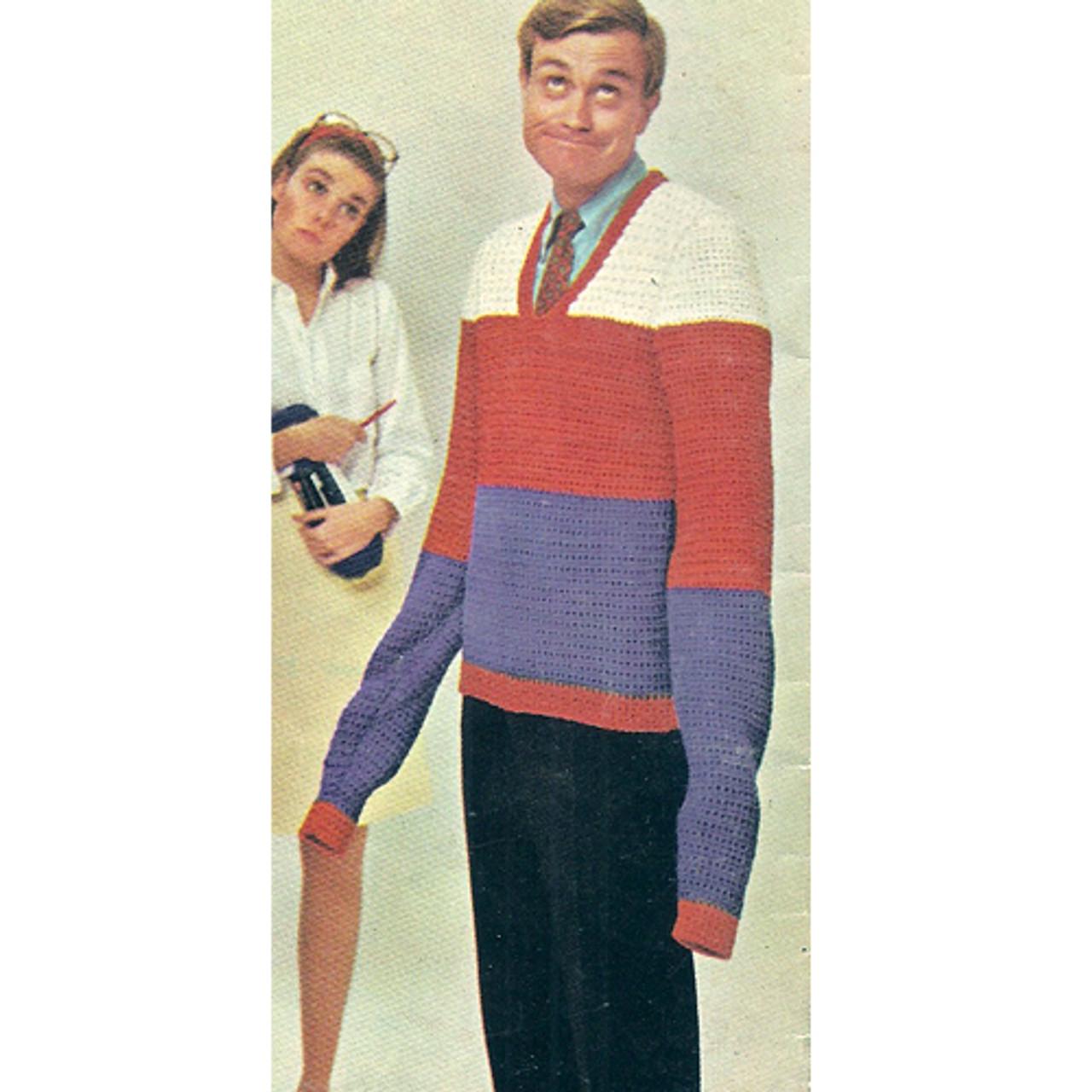 Mans Color Block Crochet Pullover Pattern
