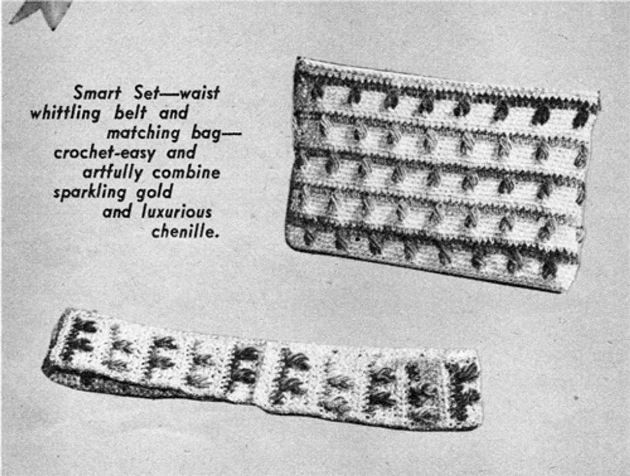 Crochet Zipper Bag with Chenille Trim