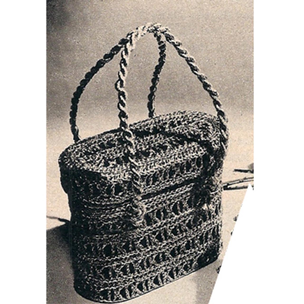 Crochet Basket Handbag Pattern, Vintage 1950s