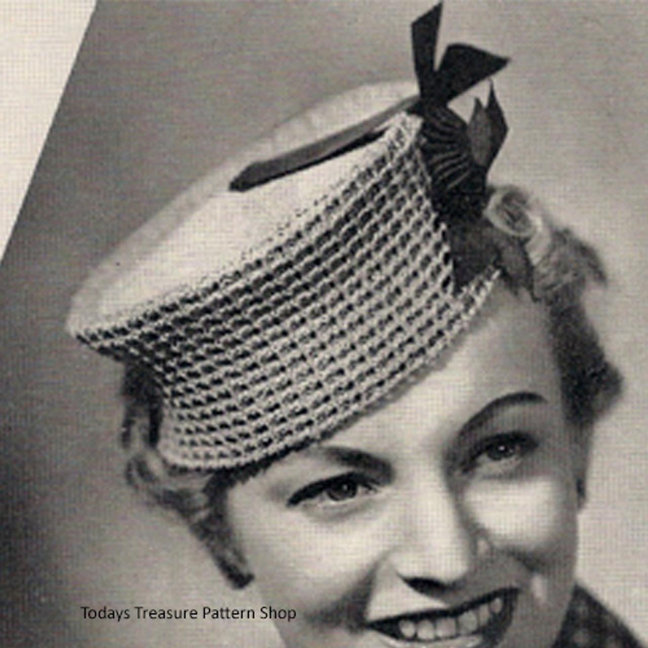 Easy Crocheted Pillbox Hat Pattern, Vintage 1930s