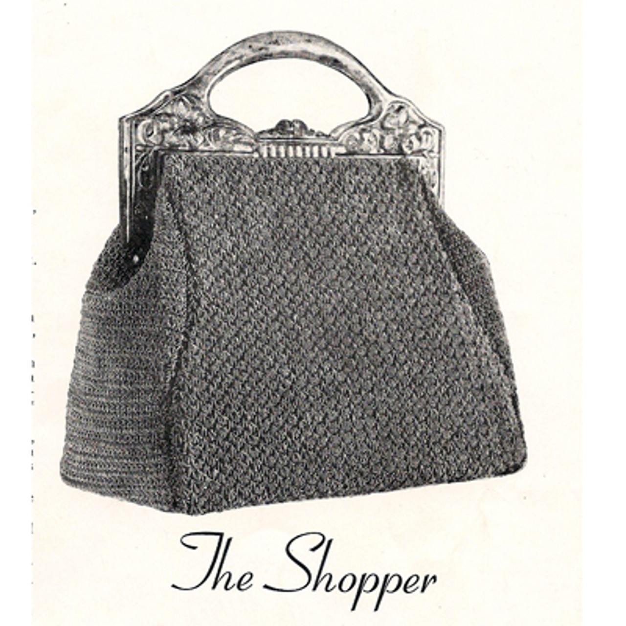 Large Crochet Handbag in Guimp, Vintage 1930s