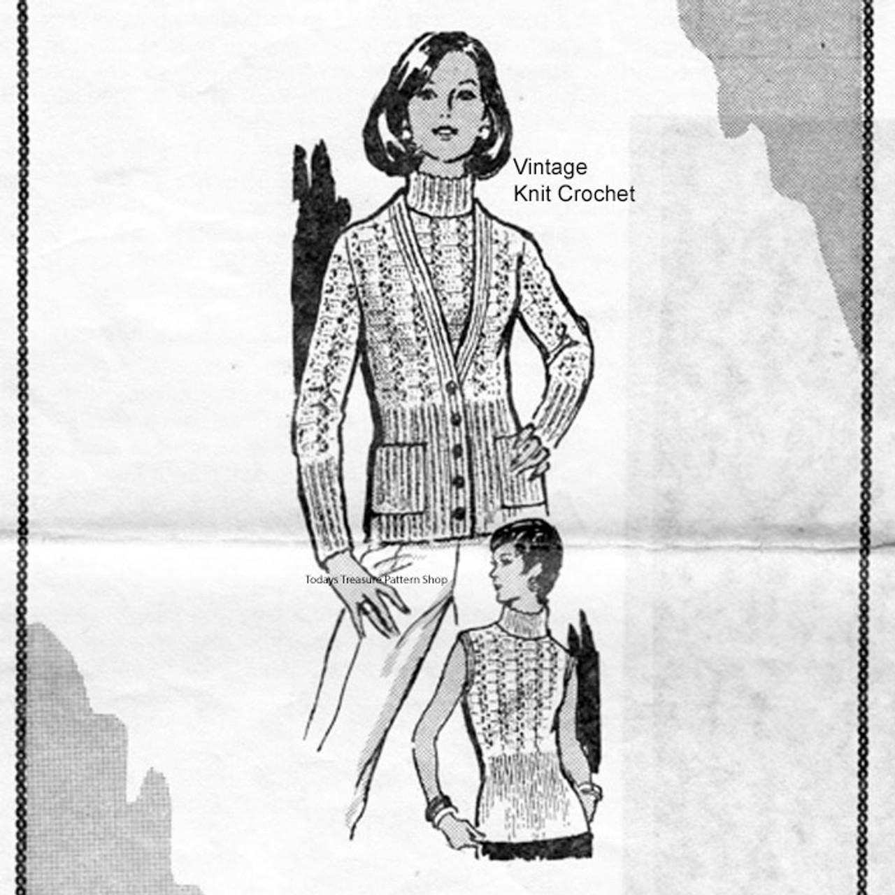 Crochet buttoned cardigan, sleeveless top pattern Design 7068