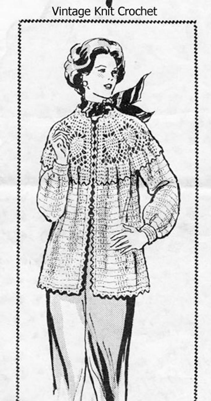 Pineapple Yoke Crochet Jacket Pattern, Womens Design 7146