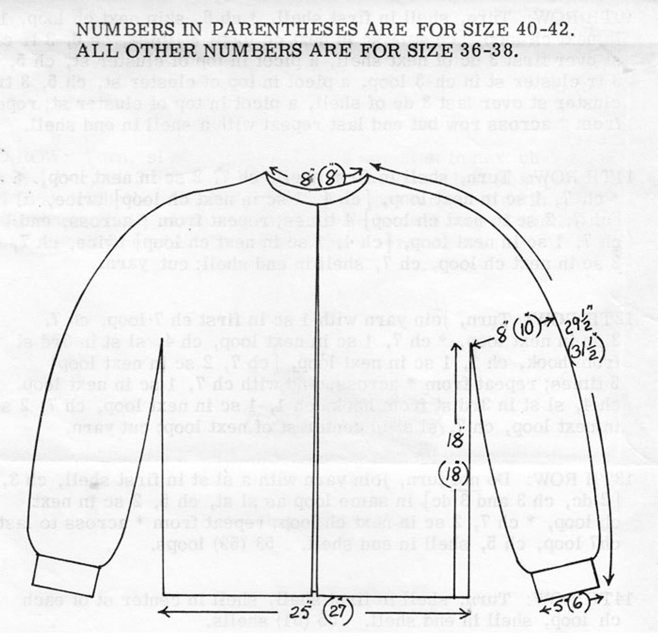 Womans Crocheted Pineapple Jacket Pattern Design 7146