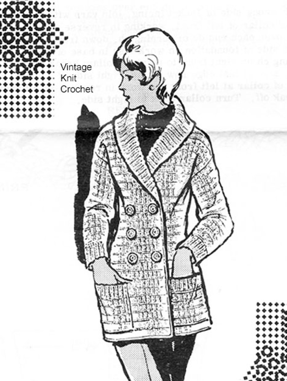 Crochet Shawl Collar Jacket Pattern, Alice B rooks 7117