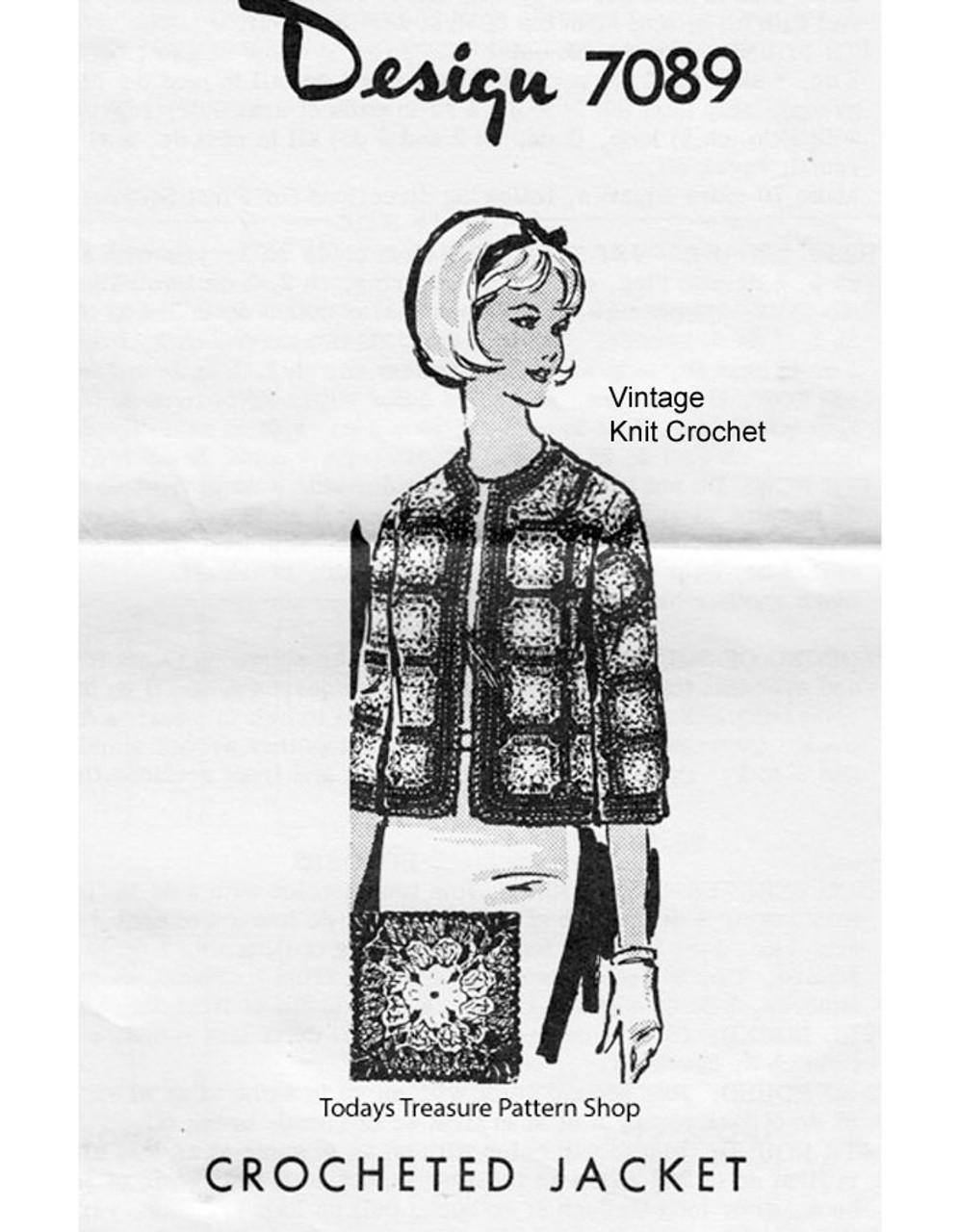 Crochet Granny Block Jacket Pattern Design 7089