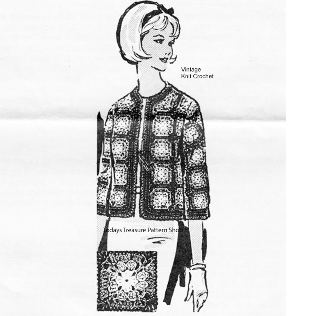 Plus Size Crochet Granny Jacket Pattern, Alice Brooks 7089
