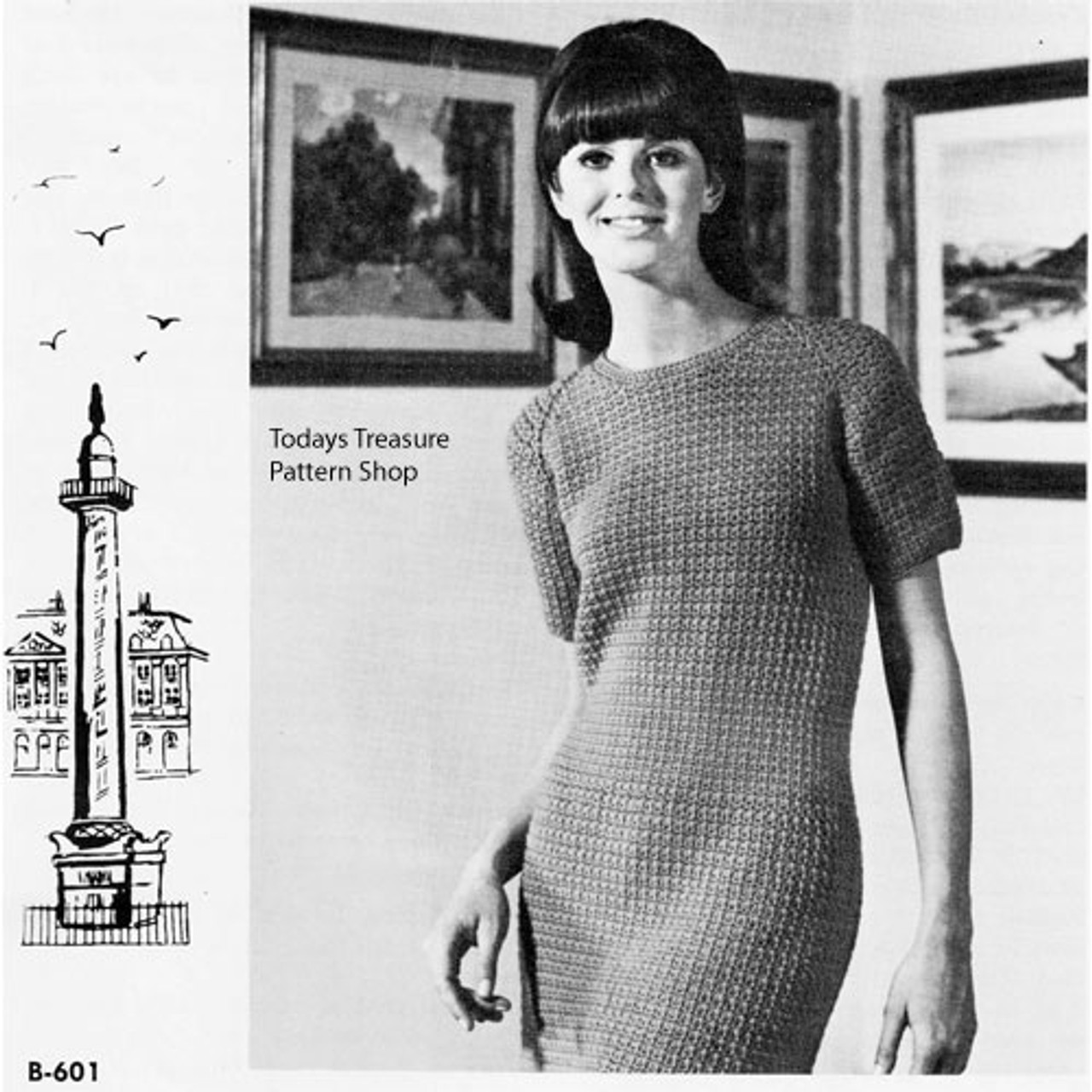 Crochet Straight Dress pattern with short sleeves