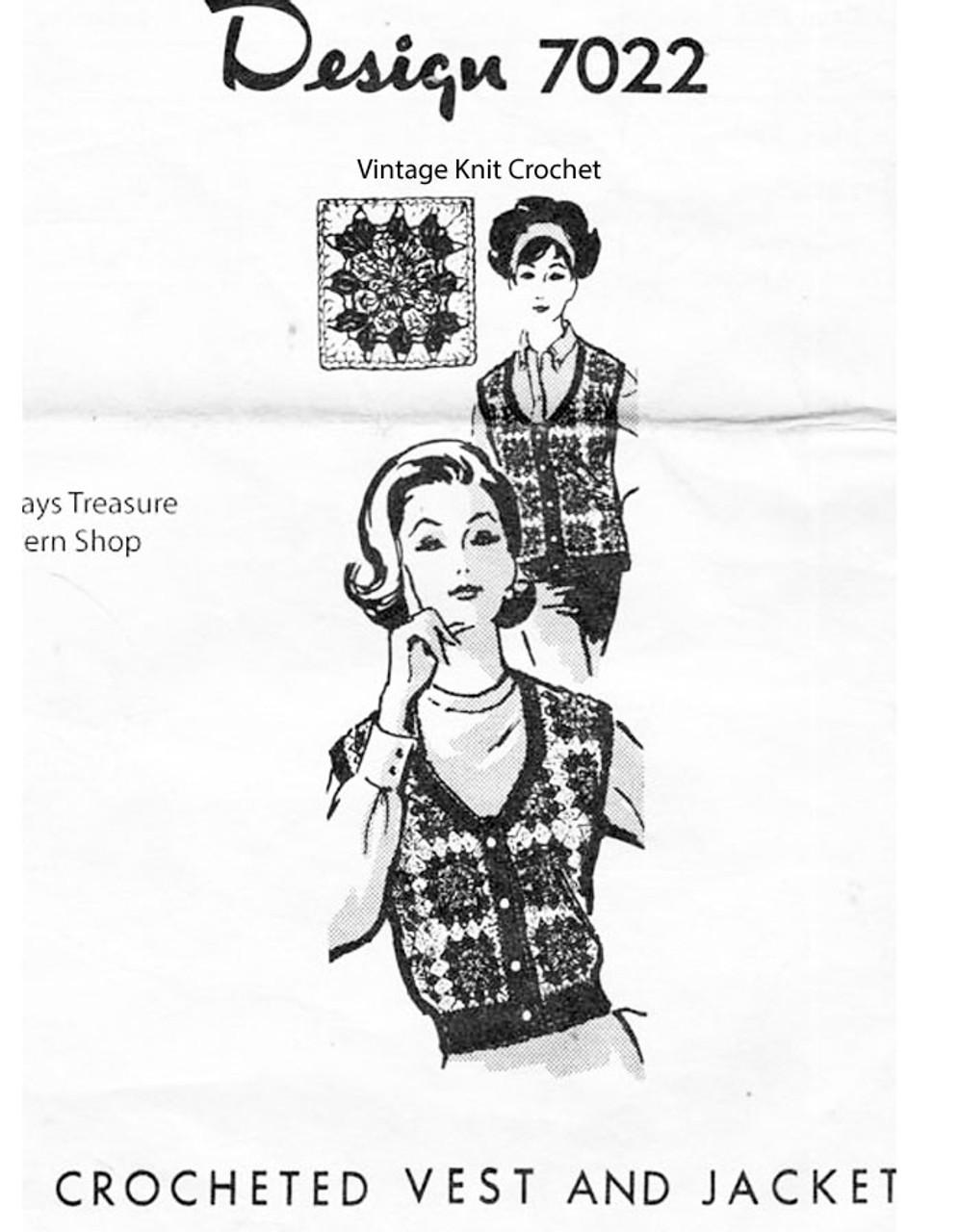 Crochet Afghan Vest Pattern, Design 7022