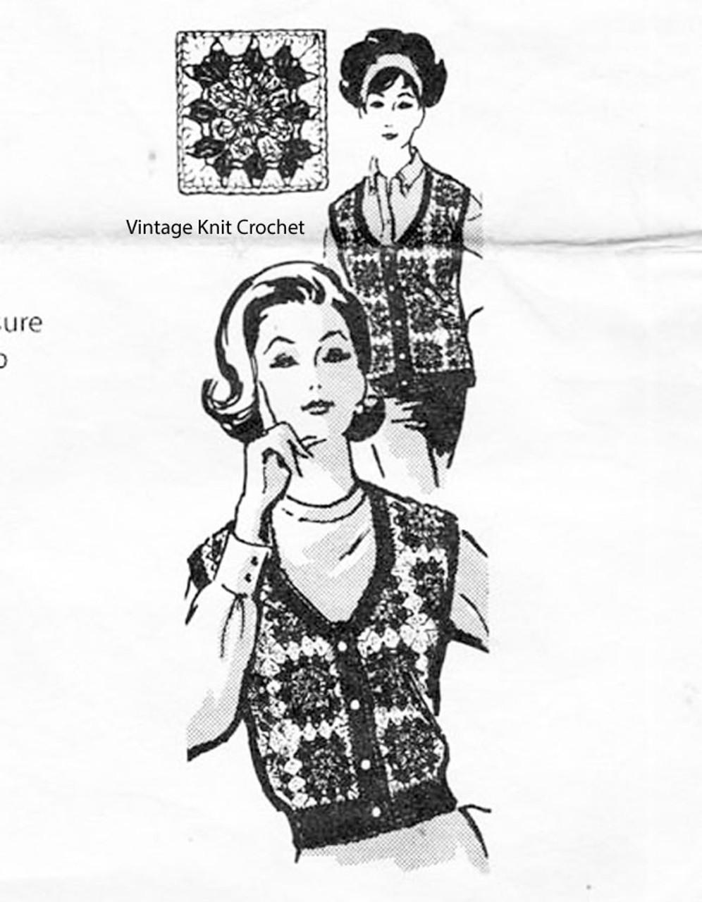 Scoop Neck Vest Crochet Pattern, Granny Squares, Alice Brooks 7022