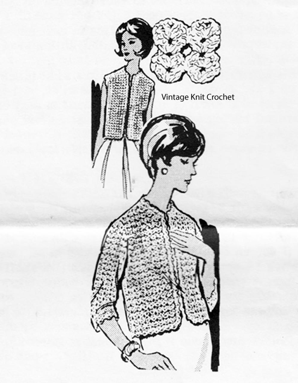 Womans Crocheted Jacket Pattern, Shell Stitch, Design 7001