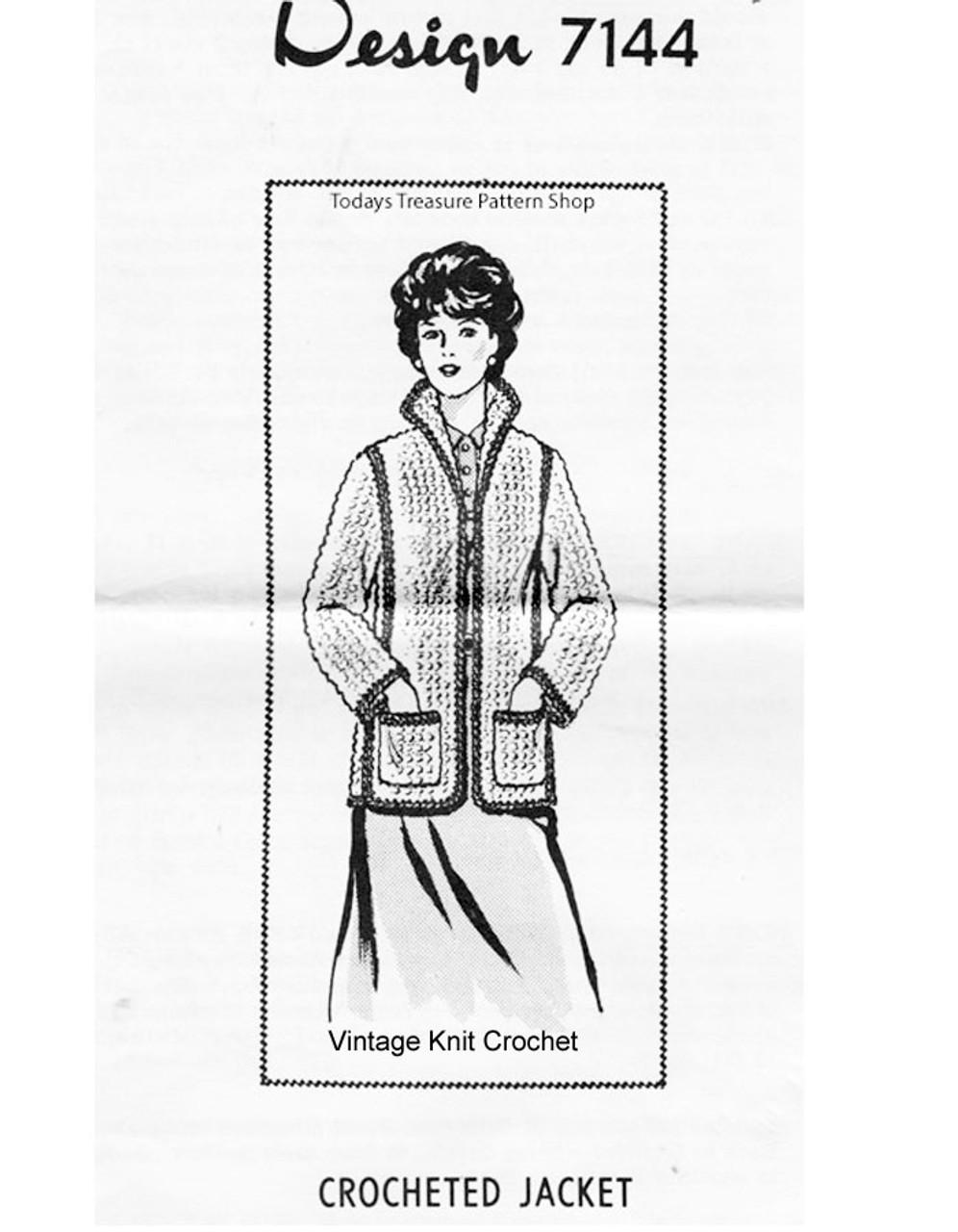 Plus Size Crochet Jacket Pattern, Mail Order Design 7144