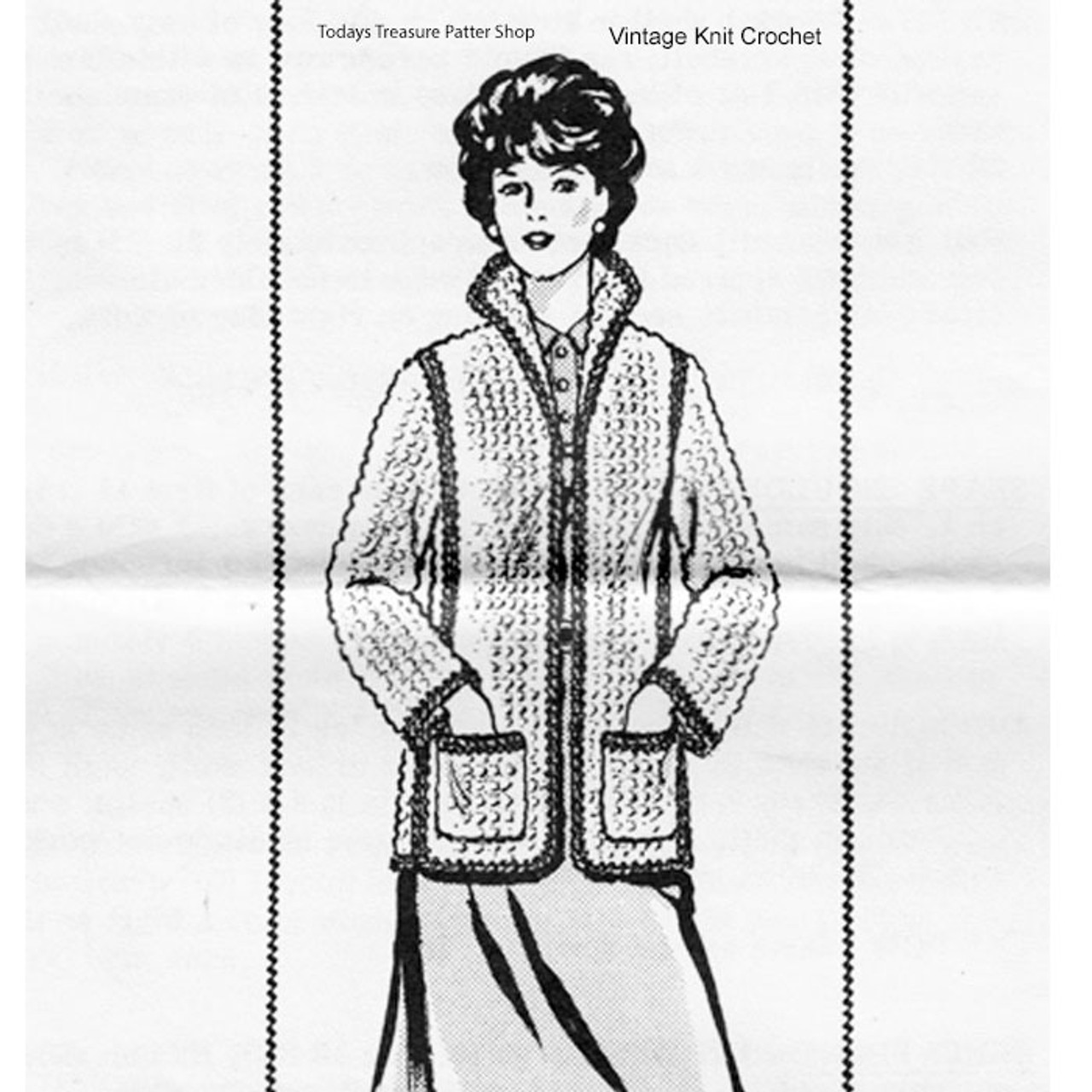 Womans Crochet Jacket Pattern, Vintage Alice Brooks 7144