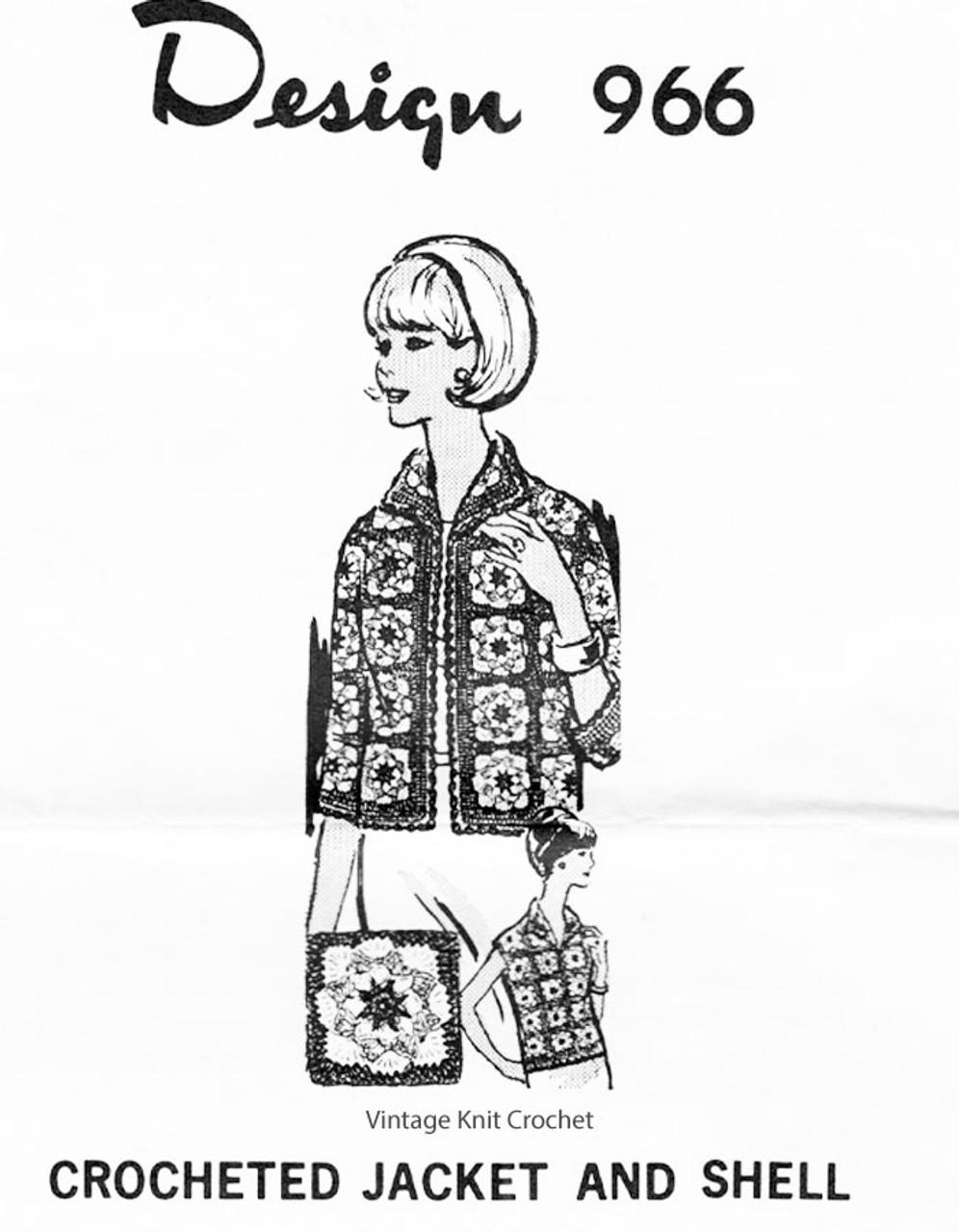 Crochet Granny Square Jacket Pattern, Mail Order 966