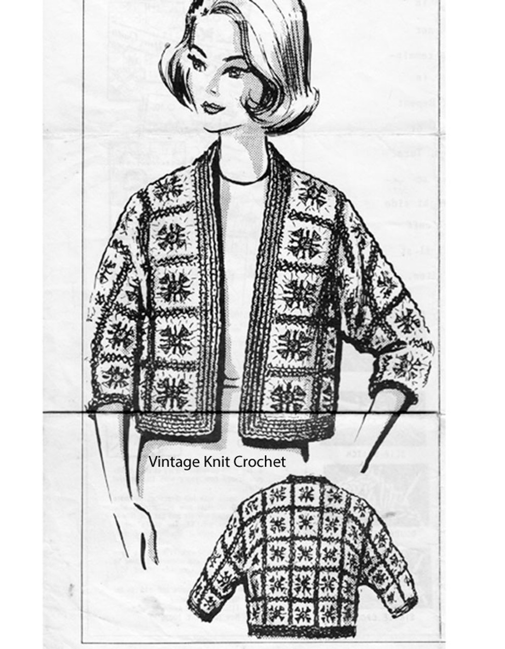 Mail order Granny Square Jacket Pattern, Anne Cabot 5060
