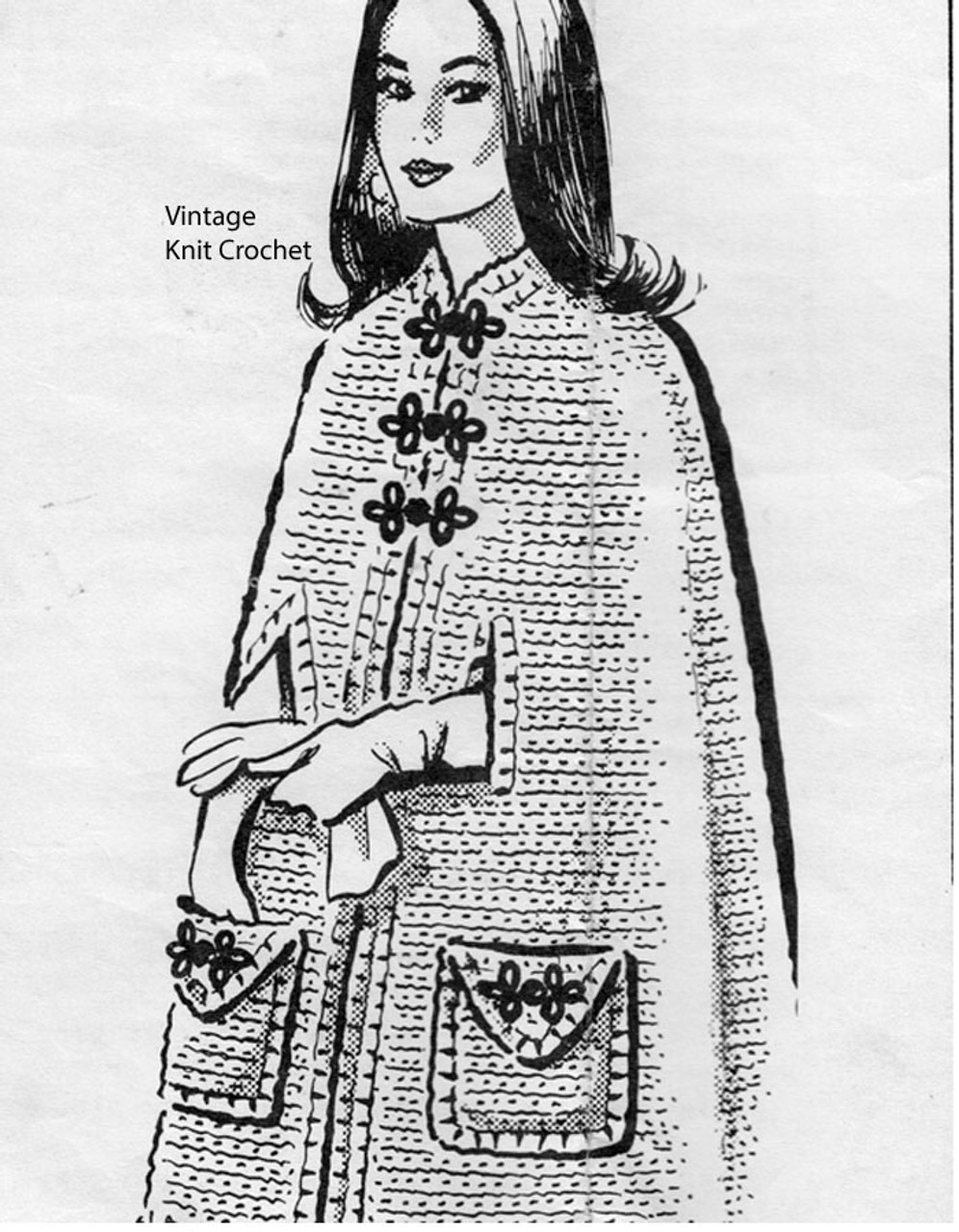 Mail Order Crochet Long Cape Pattern No 5449