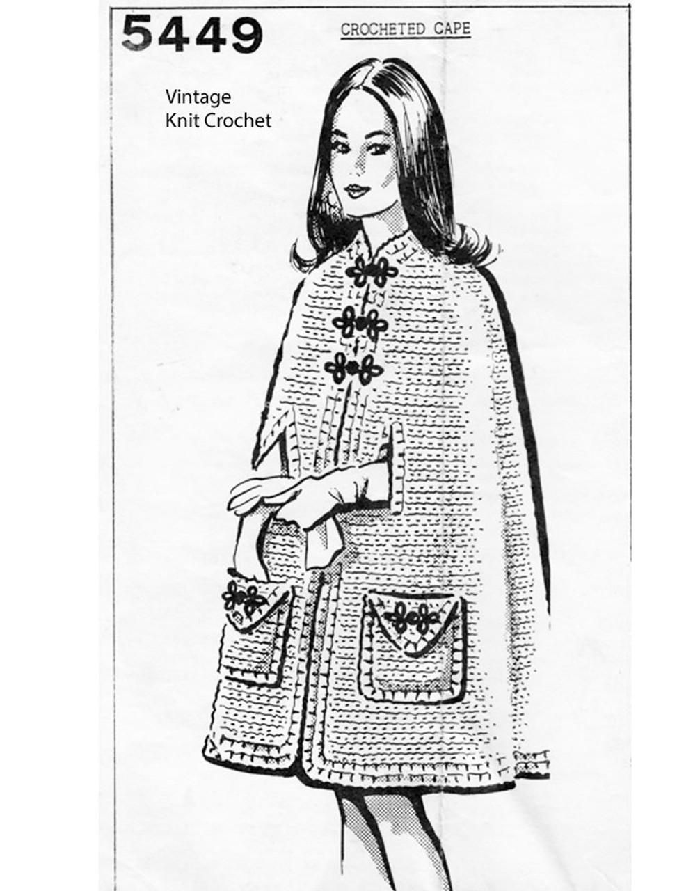 Easy Crochet Cape Pattern, Knee Length Mail Order 5449