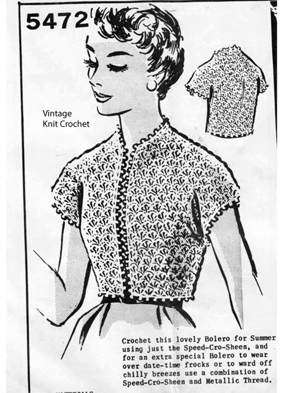 Crocheted Shell Top Pattern, Anne Cabot 5472