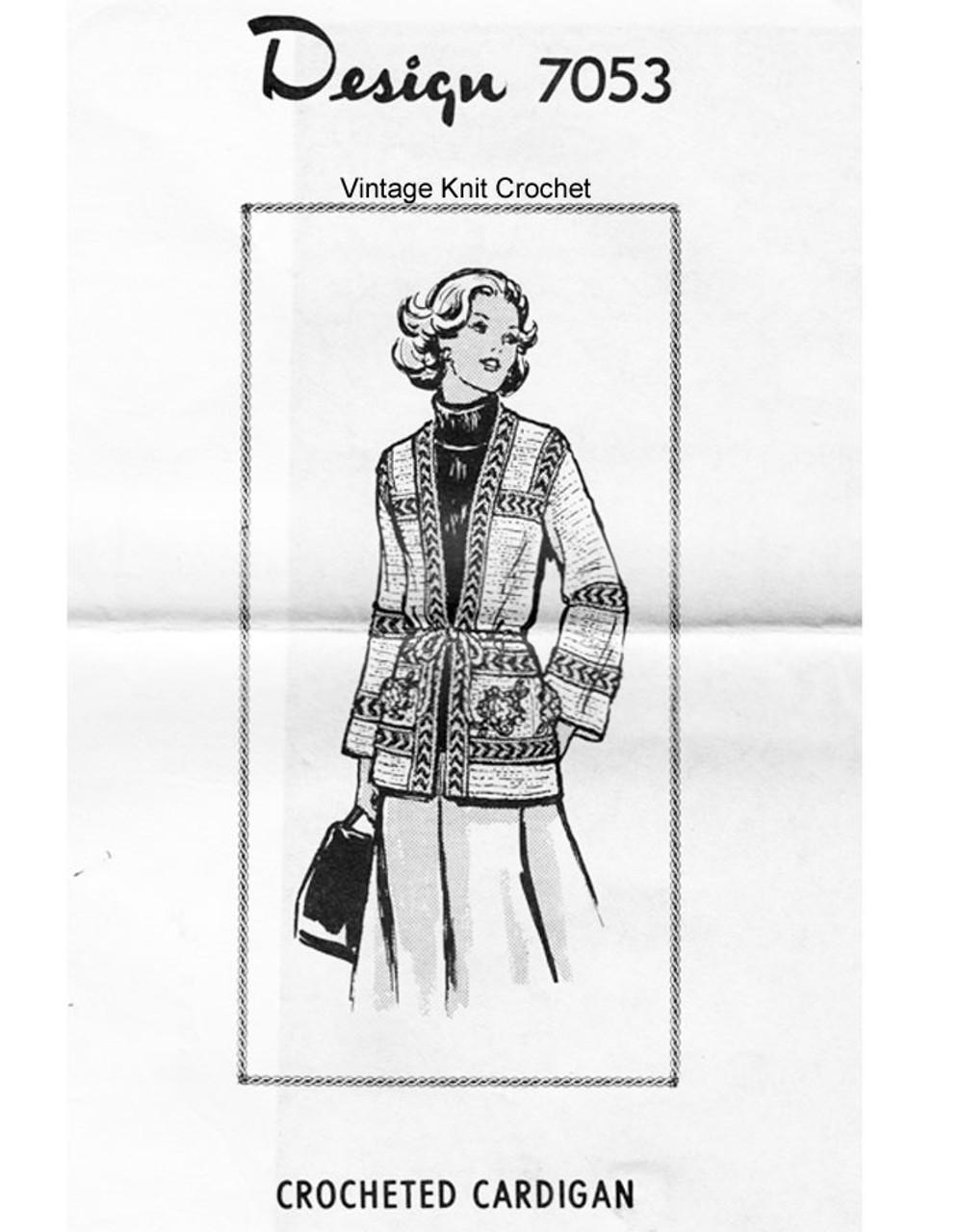 Crochet Cardigan Pattern, Rose Pockets, Mail Order 7053