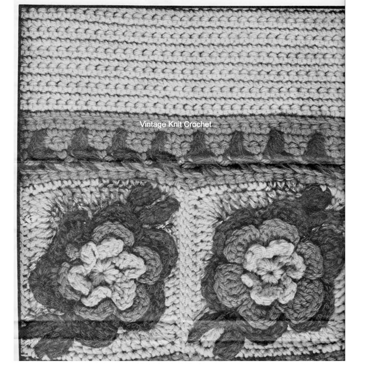 Crochet Raised Rose Pattern Illustration, Design 7053