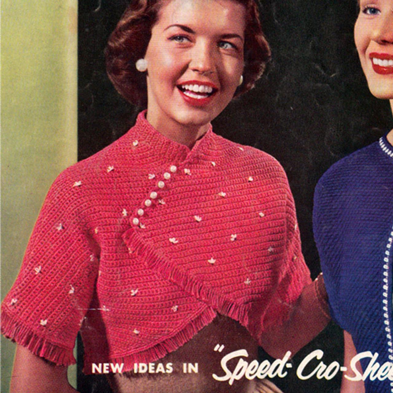Crochet Beaded Bolero Pattern, Vintage 1960s