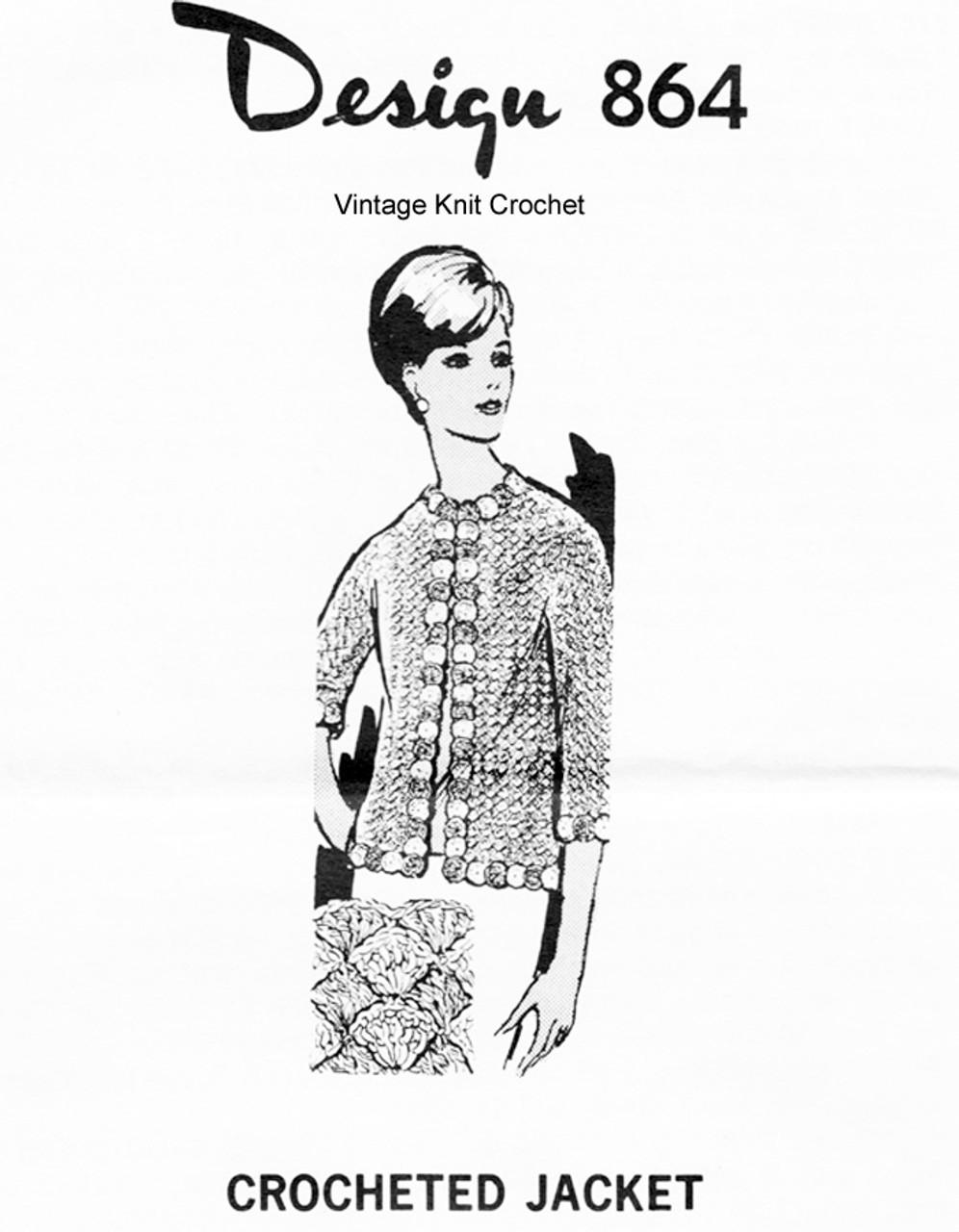 Plus Size Crochet Jacket Pattern, Shell Stitch, Mail Order Design 864