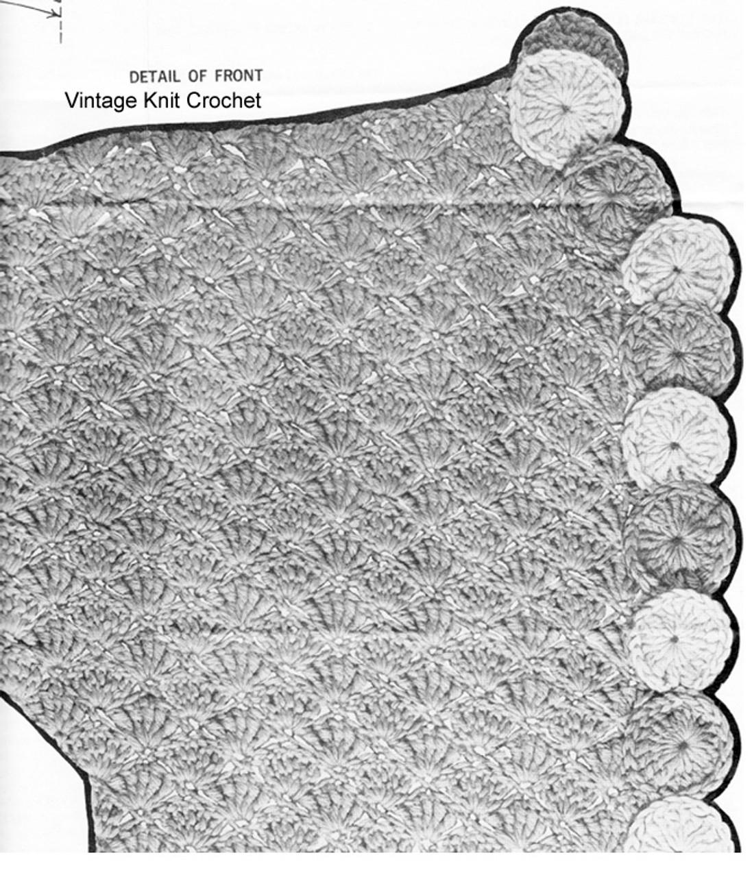 Shell Stitch Crochet Jacket Pattern Illustration, Mail Order 864