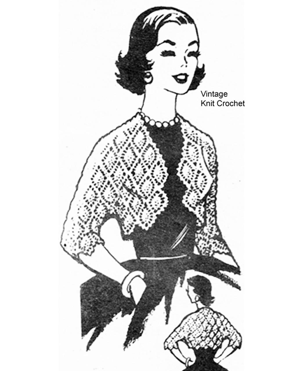 Vintage Crochet Shrug Pattern, Small Large, Laura Wheeler 743