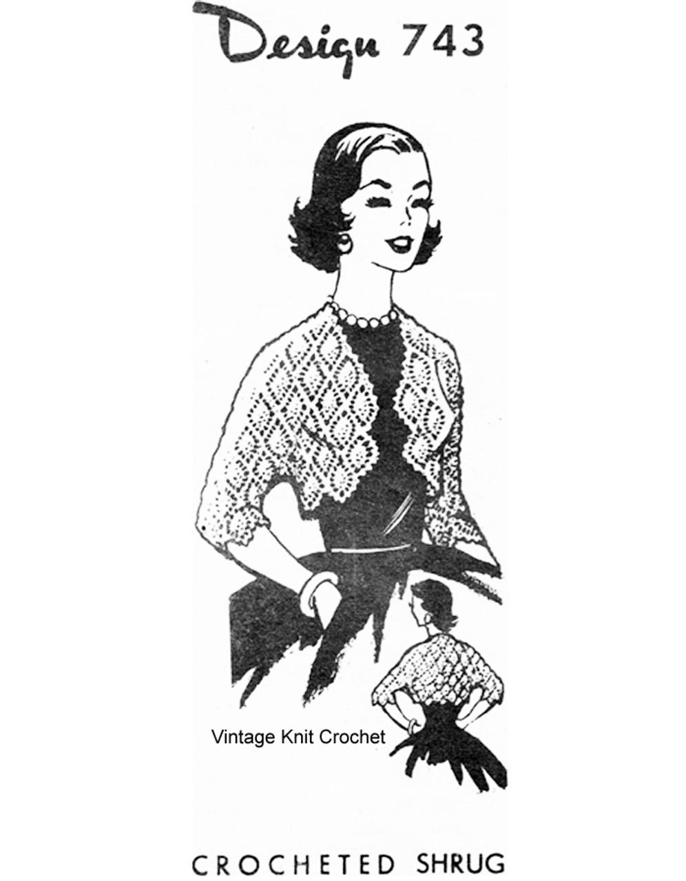 Crochet Shrug Pattern, Pineapple Stitch, Mail Order 743