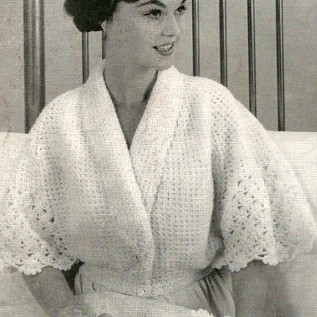 Vintage Bed Jacket Pattern of Crocheted Lace