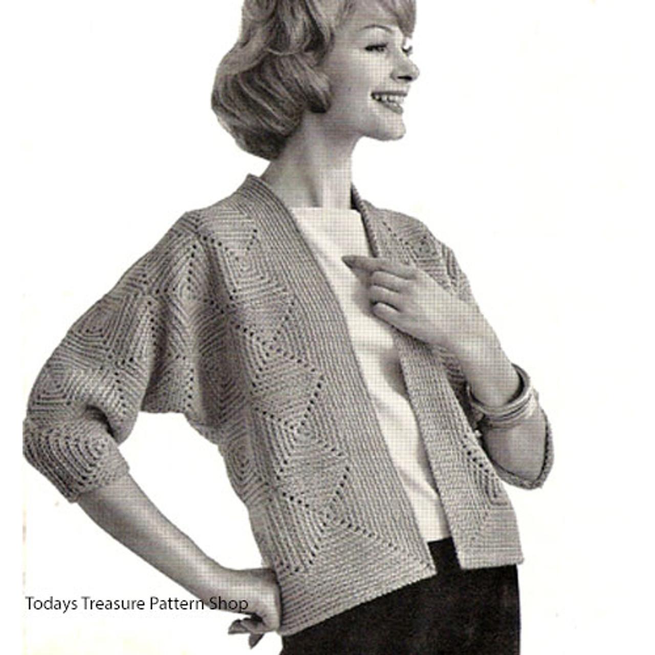 Womans Vintage Crochet Cardigan Pattern, three quarter sleeves
