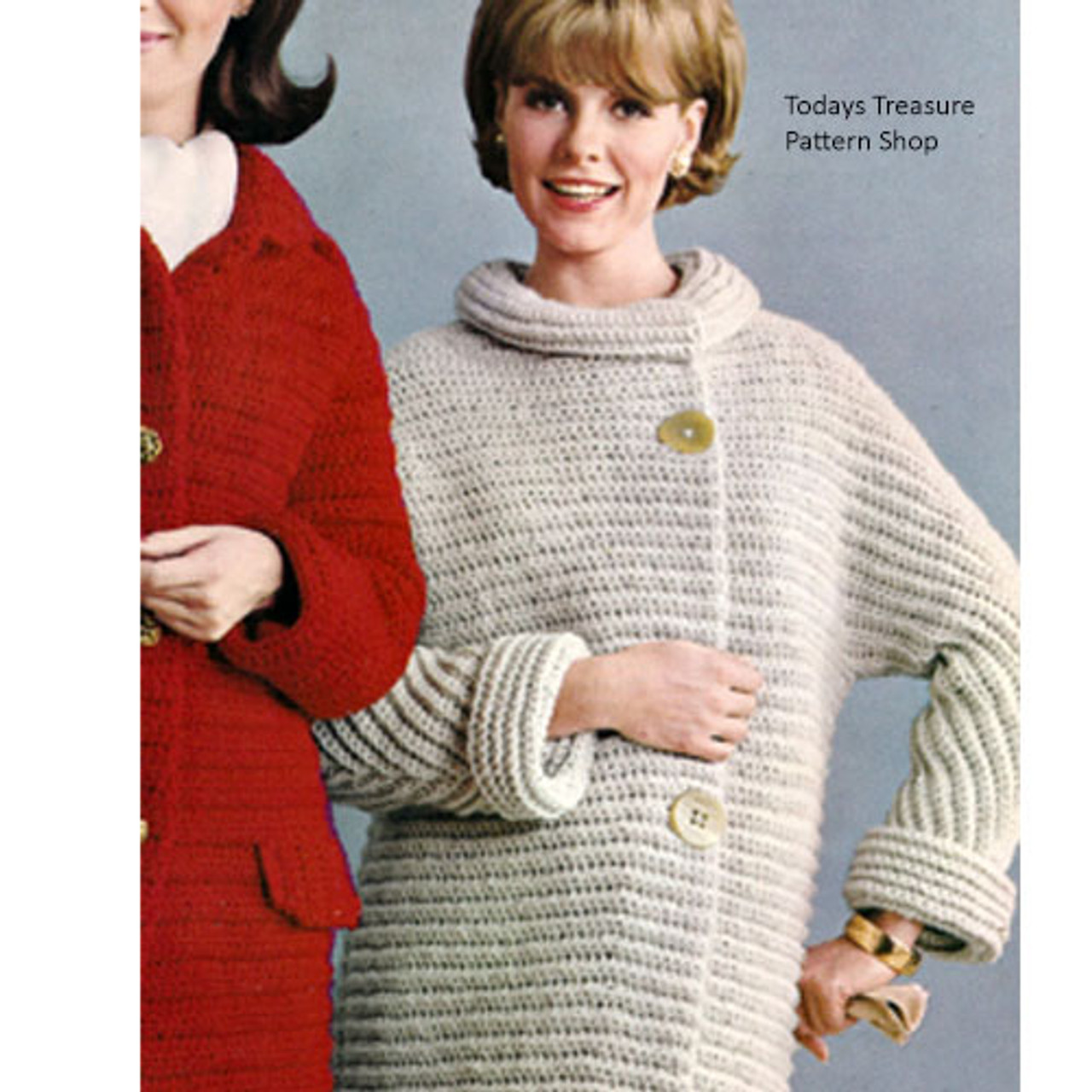 Roll Collar Crochet Coat Pattern