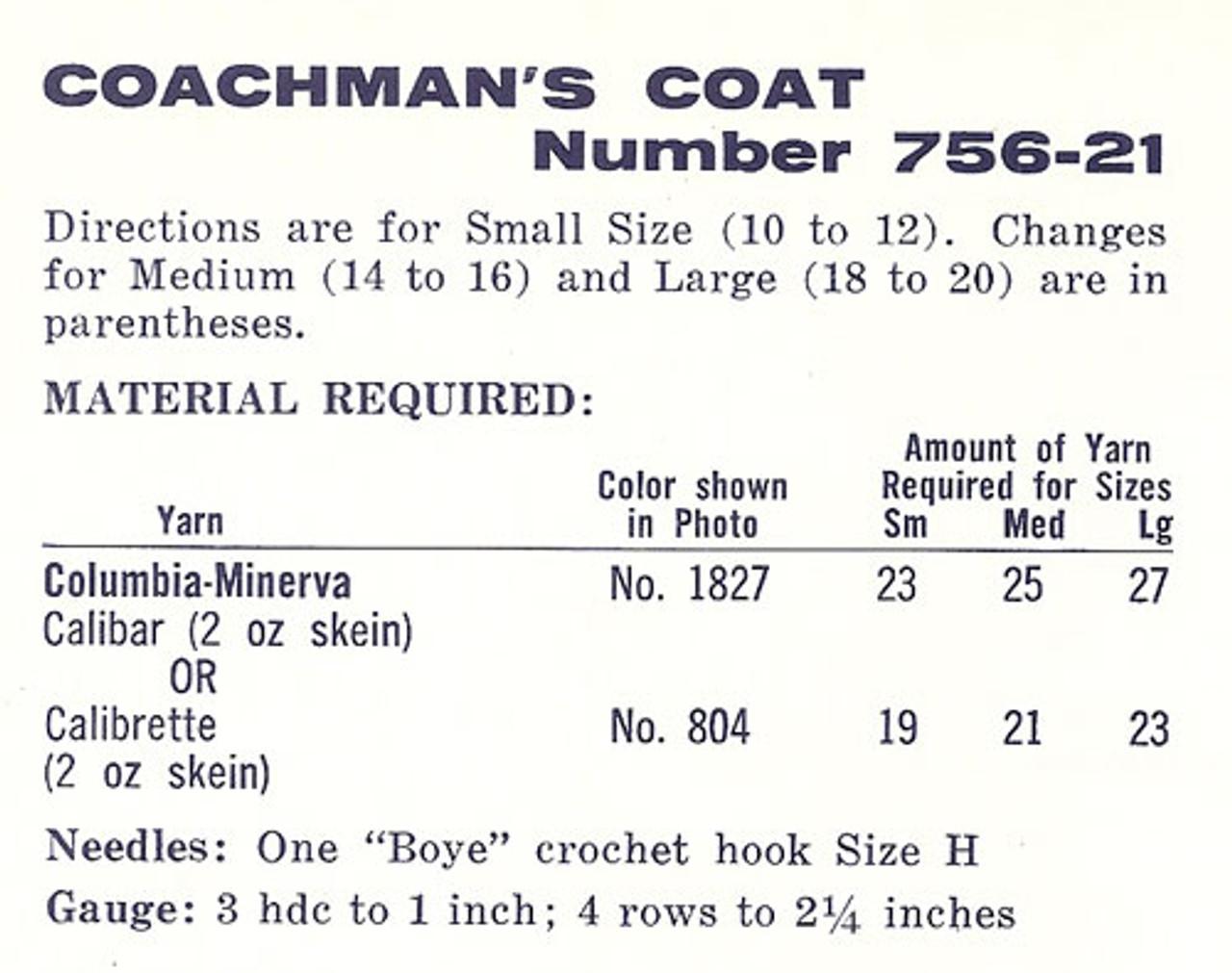 Columbia Minerva Crochet Size Chart